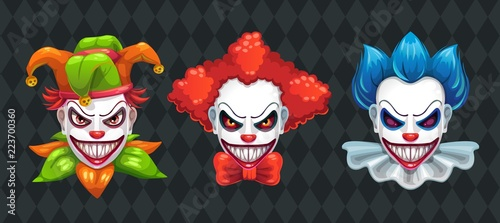 Creepy clown faces set. Spooky Halloween masks with angry smile. Canvas Print