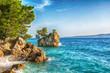 Leinwandbild Motiv Beautiful Punta Rata beach in Brela, Makarska Riviera, Dalmatia, Croatia. Travel resort background. Summer vacatioan. Copy space