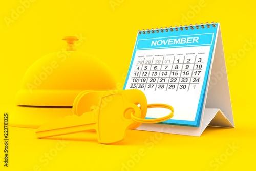 Fotografía  Hospitality background with calendar