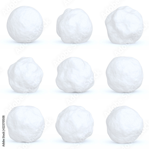 Fotografie, Obraz Set of snowballs with shadows isolated