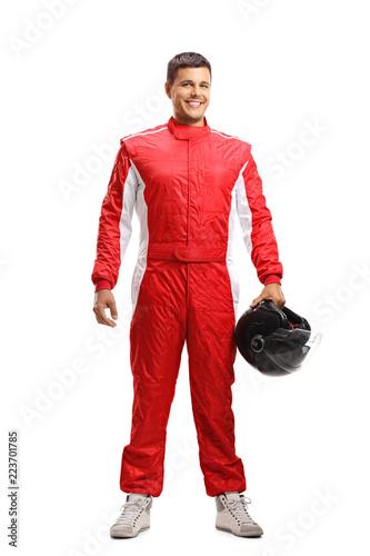 Full length portrait of a racer posing