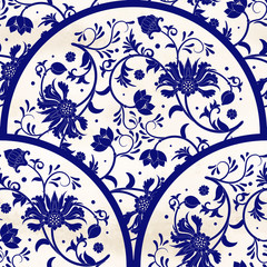 Fototapeta Orientalny Vector seamless background with round pattern on watercolor backdrop. Floral ornament in imitation of chinese porcelain painting.