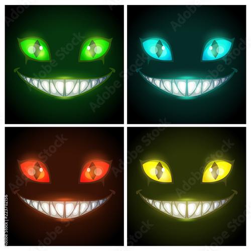 Vászonkép Halloween creepy posters set