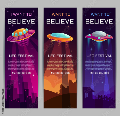 Photo  I want to believe. UFO festival invitation banners.