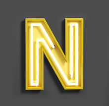 Bright Neon Font With Fluorescent Yellow Tubes. Letter N. Night Show Alphabet. 3d Rendering Isolated On Gray Background