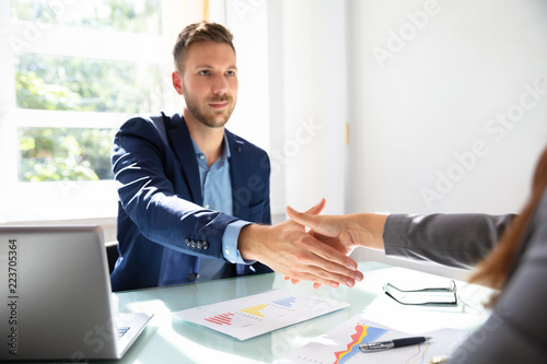 Valokuva  Businessman Shaking Hands With His Partner
