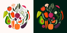 Vegetables Cards Collection With Hand Drawn Isolated Elements, Vector Design