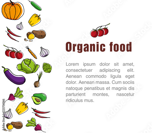 Advertising Poster For The Grocery Store Template For Organic Food Flyer Seasonal Vegetables And Healthy Food Concept Of Healthy Dood Eggplant Pepper Radish Zucchini Pumpkin Carrot Lettuce Buy This Stock Vector