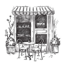 Little Cosy Cafe. Vector Sketch