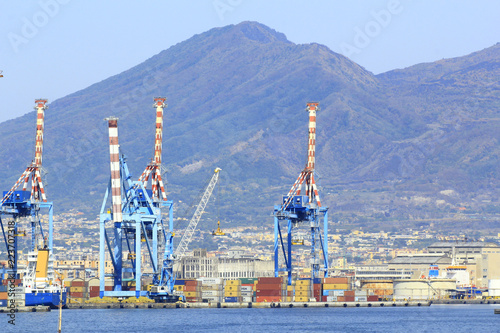 Deurstickers Napels Port of Naples with Crane