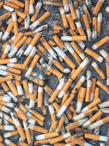Valokuva  Ashtray, vertical cigarette butts background