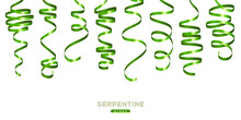 Shiny Green Serpentine On White