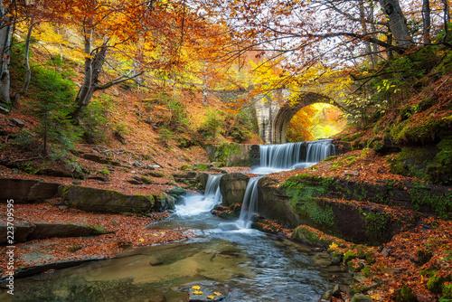 Naklejka premium Jesień bajki przez rzekę / jesień rzeki z pięknymi kaskadami wody i stary most w pobliżu miejscowości Sitovo, Bułgaria