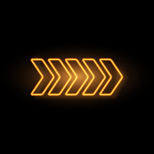 Yellow Neon Arrow With Glowing Effect, Vector Illustration