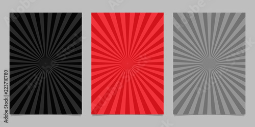 Photo  Abstract colored ray burst pattern brochure template set - vector page backgroun