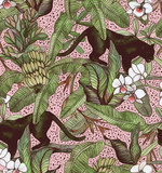 Tropical leaves, bananas, panther and orchid. Seamless vintage pattern. Wallpapers with tropical flowers and leaves - 223711307