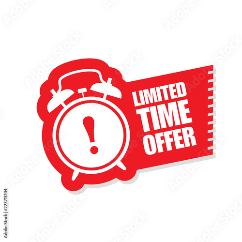 Fotomural Limited time offer sticker - ringing alarm clock, sale symbol