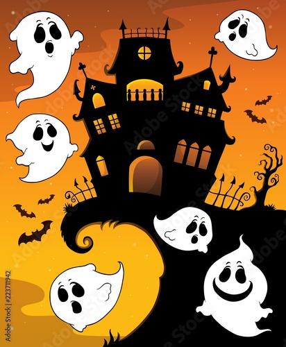 Fotobehang Voor kinderen Halloween house silhouette and ghosts 1