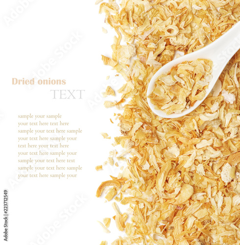Dried chopped onion in a white ceramic spoon Canvas-taulu