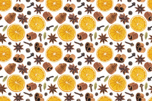 Seamless Pattern Of Christmas Spices For Decoration. Ingredients For Mulled Wine Isolated On White Background. Cinnamon Sticks, Dried Oranges, Allspice, Star Anise.