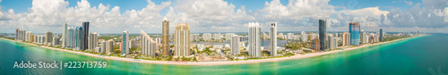 Fotografia, Obraz Aerial beachside panorama Sunny Isles Beach Florida