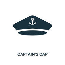 Captain'S Cap Icon. Monochrome Style Design. UI. Pixel Perfect Simple Symbol Captain's Cap Icon. Web Design, Apps, Software, Print Usage.