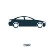 Car icon. Monochrome style design. UI. Pixel perfect simple symbol car icon. Web design, apps, software, print usage.