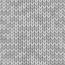White And Gray Realistic Knit Texture Seamless Pattern. Vector Seamless Background For Banner, Site, Card, Wallpaper.