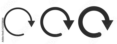 Fototapeta Set of black circular arrows. Vector illustration.