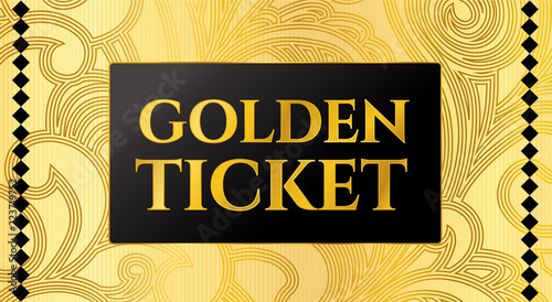 Fotografía  Golden ticket template, Concert ticket on gold background with curve floral pattern