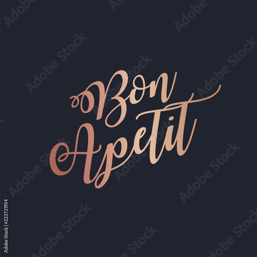 Bon Apetit rose gold lettering vector Wallpaper Mural