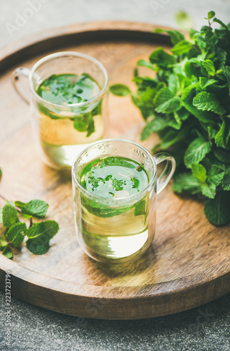 Foto op Aluminium Thee Hot herbal mint tea drink in glass mugs over wooden tray with fresh garden mint leaves, selective focus, vertical composition