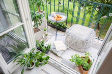 Top View Of A Balcony With Pla...