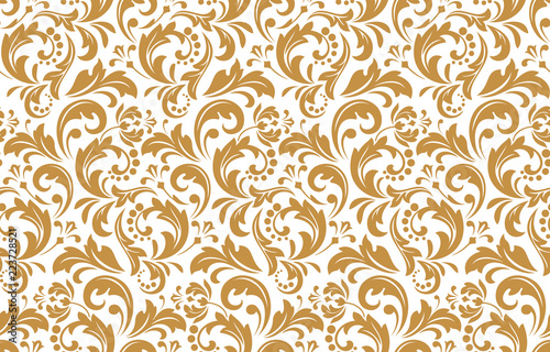 Flower Pattern Seamless White And Gold Ornament Graphic