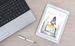 Startup concept on a digital tablet