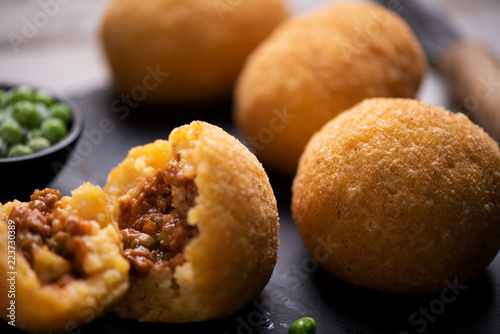 Delicious rice ball on black table