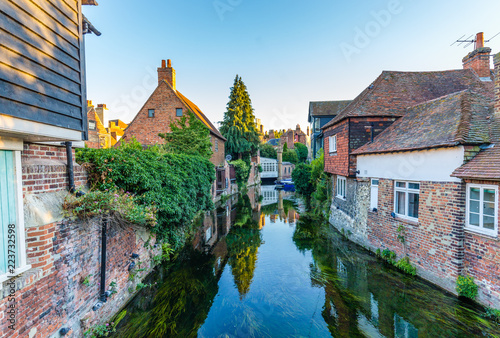 Cityscape with the Great Stour river and old houses in the