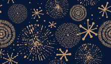 Abstract New Year Pattern. Golden Christmas Snowflake On Dark Blue Background. Seamless Ornament For Decor, Wallpaper, Gift Paper And Design Of New Year's Souvenirs