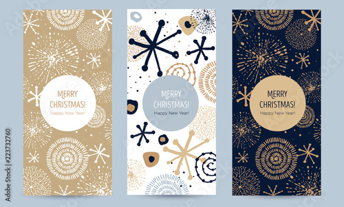 A set of greeting card with golden snowflakes and festive decor. Hand-drawn vector illustration. Trendy design template of leaflet cover, flayer, card, beauty salon, spa, restaurant, club.