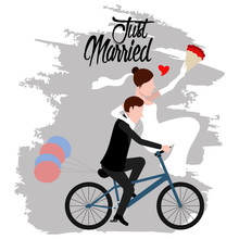 Groom And Bride On A Bicycle. Just Married Couple. Wedding Concept Image. Vector Illustration Design