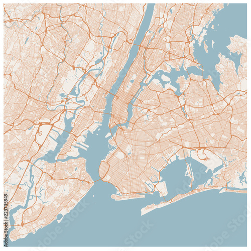 Large Map Of New York City Usa Nyc Scheme Of Roads And Streets
