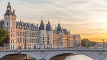 Dramatic Sunset Over River Seine And Conciergerie Timelapse In Paris, France