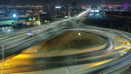 Papiers peints Tunnel Cityscape of Ajman from rooftop at night timelapse. Ajman is the capital of the emirate of Ajman in the United Arab Emirates.