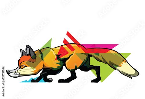 Photo Ambush fox Art tattoo., concept.