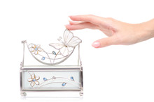 Casket For Jewelry In Female Hand On White Background Isolation