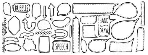 Hand drawn set of speech bubbles Canvas Print