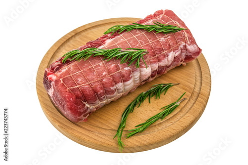 Staande foto Vlees raw meat on wooden plate isolated