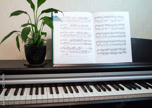 Spoed Foto op Canvas Muziekwinkel 2018.09.18, Moscow, Russia. An open book of sheet music on the piano. A composition of the sheet music, flower and the piano keyboard. Elements of interior of the music classroom.