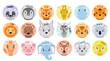 Cartoon set Vector Animals face. Panda,fox,zebra,elephant,lion,pig,bear, chick, koala, tiger,hare,leopard,horse,mouse,squirrel, giraffe, hippopotamus.