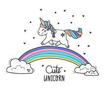 Unicorn With Wings Walks On Th...
